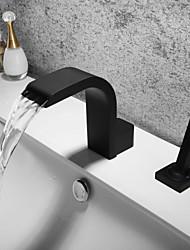 Недорогие -Ванная раковина кран - Водопад / Широко распространенный / Новый дизайн черный Разбросанная Одной ручкой Два отверстияBath Taps
