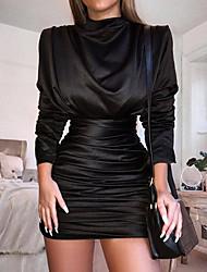 abordables -Femme Soirée Elégant Au dessus du genou Mince Gaine Robe - Ruché / Plissé Noir Rouge Bleu royal M L XL Manches Longues