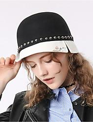 Недорогие -Elizabeth Чудесная миссис Мейзел Фетровые шляпы шляпа Дамы Ретро Жен. Черно-белый Контрастных цветов Конструкция САР Шерсть костюмы
