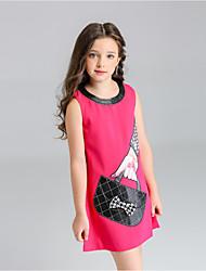 お買い得  -子供 女の子 ベーシック 日常 ソリッド ノースリーブ ドレス ホワイト