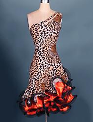 economico -Balli latino-americani Vestiti Per donna Prestazioni Elastene / Chiffon + satin Con balze Senza maniche Alto Abito / Ballo latino
