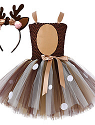 baratos -Vestidos Vestido de Natal Santa Clothe Para Meninas Crianças Vestidos Natal Natal Ano Novo Festival / Celebração Renda Tactel Roupa Café Rendas Natal