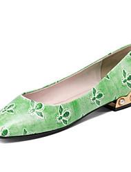 Недорогие -Жен. Наппа Leather Весна Милая / Минимализм На плокой подошве На низком каблуке Квадратный носок Стразы / Животные принты Черный / Светло-Зеленый