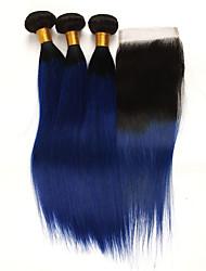 Недорогие -3 комплекта с закрытием Бразильские волосы Прямой человеческие волосы Remy Накладки из натуральных волос Волосы Уток с закрытием 10-24 дюймовый Ткет человеческих волос
