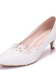 a46e807c5c Per donna Di pizzo / PU (Poliuretano) Primavera estate Dolce scarpe da  sposa Kitten Appuntite Fiori di raso Bianco / Matrimonio