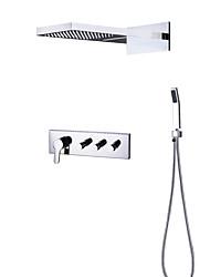 Недорогие -Смеситель для душа - Современный Хром На стену Керамический клапан Bath Shower Mixer Taps / Латунь / Четыре ручки три отверстия