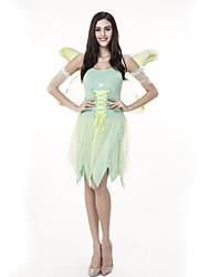 abordables -Elf Fée Costume Femme Adulte Halloween Halloween Carnaval Mascarade Fête / Célébration Tulle Polyester Tenue Vert Ange