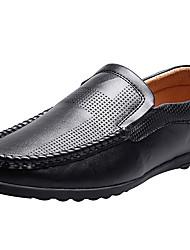 hesapli -Erkek Ayakkabı Deri İlkbahar & Kış Klasik / Çin Stili Mokasen & Bağcıksız Ayakkabılar Günlük / Dış mekan için Siyah / Açık Kahverengi / Kırmızı Şarap