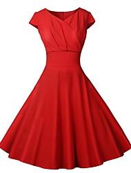 Недорогие -Жен. Винтаж / Классический Оболочка Платье - Однотонный До колена