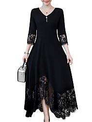 baratos -Mulheres Tamanhos Grandes Evasê Vestido - Guarnição do laço, Sólido Decote V Longo Preto