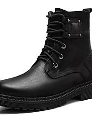 お買い得  -男性用 コンフォートシューズ レザー 冬 ブーツ ミドルブーツ ブラック