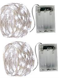 preiswerte -5m Leuchtgirlanden 50 LEDs SMD 0603 Warmes Weiß / Weiß / Mehrfarbig Wasserfest / Party / Dekorativ Batterien angetrieben 2pcs