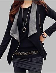 Недорогие -Жен. Повседневные Наступила зима Обычная Куртка, Контрастных цветов V-образный вырез Длинный рукав Акрил / Полиэстер Черный / Серый M / L / XL