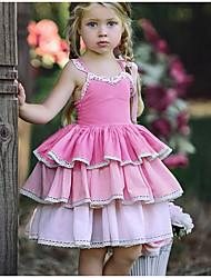 お買い得  -子供 女の子 甘い 日常 ソリッド レース ノースリーブ 膝丈 ポリエステル ドレス ピンク