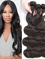 Недорогие -4 Связки Бразильские волосы Малазийские волосы Естественные кудри 8A Натуральные волосы Необработанные натуральные волосы Подарки Косплей Костюмы Головные уборы 10-28 дюймовый Естественный цвет