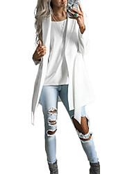 baratos -Mulheres Diário Moda de Rua Longo Casaco, Sólido Gola Enrolada Manga Longa Poliéster Branco L / XL / XXL