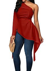 Недорогие -женская футболка - однотонное одно плечо