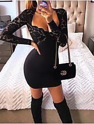 Недорогие -Жен. Элегантный стиль Тонкие Брюки - Однотонный Черный / Глубокий V-образный вырез / Для клуба / Сексуальные платья
