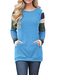 abordables -sweatshirt à manches longues femme - bloc de couleur col rond