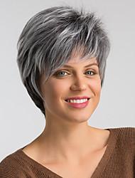 Недорогие -Парики из искусственных волос Жен. Естественный прямой Черный Стрижка под мальчика Искусственные волосы 8 дюймовый Модный дизайн / Новое поступление / Волосы с окрашиванием омбре Черный / Омбре Парик