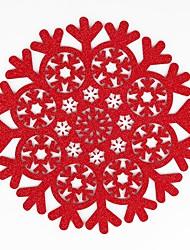 abordables -accueil multifonction créatif vert décoration simple motif de noël flocon de neige artisanat creux polyester isolation pad napperon anti-slip anti-ébouillantage