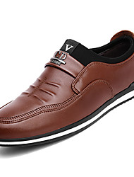hesapli -Erkek Ayakkabı PU Kış İş Mokasen & Bağcıksız Ayakkabılar Günlük için Siyah / Kahverengi