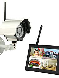 """abordables -nouvelle Wireless 4CH DVR 1 quad appareils avec système de sécurité à domicile du moniteur 7 """"TFT-LCD"""