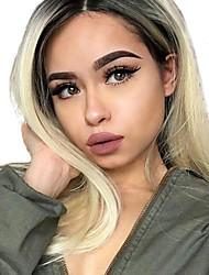 Недорогие -Не подвергавшиеся окрашиванию человеческие волосы Remy 360 Лобовой Парик Бразильские волосы Шелковисто-прямые Блондинка Парик 150% Плотность волос / Волосы с окрашиванием омбре / с детскими волосами