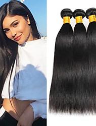 Недорогие -3 Связки Малазийские волосы Прямой 8A Натуральные волосы Необработанные натуральные волосы Головные уборы Человека ткет Волосы Уход за волосами 8-28 дюймовый Естественный цвет Ткет человеческих волос
