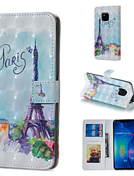 Недорогие -Кейс для Назначение Huawei Huawei Honor 10 / Huawei Honor 8X / Honor 7A Кошелек / Бумажник для карт / со стендом Чехол Эйфелева башня Твердый Кожа PU