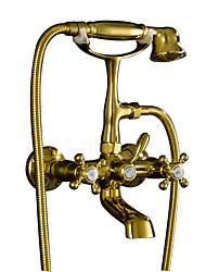 Недорогие -Смеситель для ванны - Античный Ti-PVD На стену Медный клапан Bath Shower Mixer Taps / Две ручки двумя отверстиями