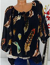 Недорогие -Жен. Шнуровка / С принтом Большие размеры - Блуза Классический / тропический Цветочный принт / С принтом /  Перья