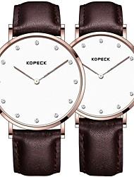 Недорогие -Kopeck Для пары Наручные часы электронные часы Японский Японский кварц Натуральная кожа Черный / Коричневый / Шоколадный 30 m Защита от влаги Повседневные часы Аналоговый На каждый день Мода -