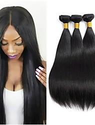 Недорогие -3 Связки Бразильские волосы Прямой Не подвергавшиеся окрашиванию человеческие волосы Remy Косплей Костюмы Человека ткет Волосы Сувениры для чаепития 8-28 inch Естественный цвет Ткет человеческих волос