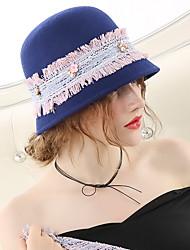 Недорогие -Чудесная миссис Мейзел Колпак шляпа шляпа Дамы Винтаж 1950-е года Жен. Синий Контрастных цветов Конструкция САР Шерсть костюмы