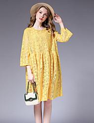 Недорогие -женская сумочка выше колена освобождает линию платье высокой талии черный желтый l xl xxl xxxl