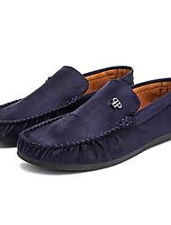 hesapli -Erkek Ayakkabı Süet Bahar Günlük Mokasen & Bağcıksız Ayakkabılar Günlük için Siyah / Gri / Mavi