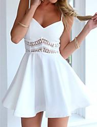 baratos -Mulheres Boho / Moda de Rua Delgado Calças - Côr Sólida Branco, Estampado Branco / Decote V / Mini / Com Alças / Feriado / Sexy
