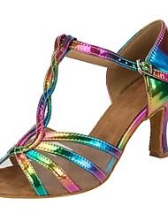 Недорогие -Жен. Обувь для латины Полиуретан На каблуках Пайетки Тонкий высокий каблук Персонализируемая Танцевальная обувь Цвет радуги