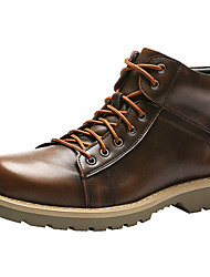 billige -Herre Komfort Sko Lær Høst vinter Fritid / Britisk Støvler Ankelstøvler Svart / Brun / Burgunder