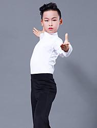 Недорогие -Латино Топы Мальчики Выступление Молочное волокно Комбинация материалов Длинный рукав Кофты