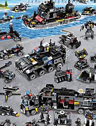 billige -Byggeklodser 400-800 pcs Køretøjer Militær Luftfartøj Simulering Militærkøretøjer Politibil Helikopter Alle Legetøj Gave