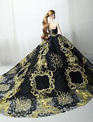 Недорогие -Платья Платье Для Кукла Барби Черный Тюль / Кружево / Шелково-шерстяная ткань Платье Для Девичий игрушки куклы
