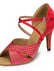 Недорогие -Жен. Обувь для латины Сатин На каблуках Crystal / Rhinestone Тонкий высокий каблук Персонализируемая Танцевальная обувь Черный / Красный