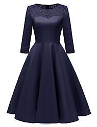 Недорогие -женская вечеринка миди стройное платье свинг вино розово-синее с м л хл