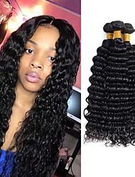 tanie -4 zestawy Włosy brazylijskie Deep Wave Włosy virgin Włosy naturalne remy Fale w naturalnym kolorze Pielęgnacja włosów Doczepy 8-28 in Kolor naturalny Ludzkie włosy wyplata Gładki Seksowna kobieta