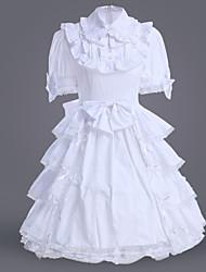 billiga -Klassisk / Traditionell Lolita Lolita Dam Klänningar Cosplay Vit Balklänning Kortärmad Medium längd Plusstorlekar Anpassad Kostymer