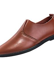 hesapli -Erkek Ayakkabı PU Kış Günlük Mokasen & Bağcıksız Ayakkabılar Günlük için Beyaz / Siyah / Kahverengi