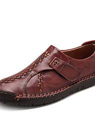 Недорогие -Муж. Кожаные ботинки Кожа Весна & осень На каждый день / Шинуазери (китайский стиль) Мокасины и Свитер Желтый / Темно-коричневый / Вино