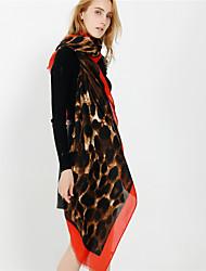 ราคาถูก -เสื้อไม่มีแขน เส้นใยสังเคราะห์ / Polyester / Cotton งานแต่งงาน / งานปาร์ตี้ / งานราตรี Women's Wrap / ผ้าพันคอสตรี กับ ลายเสือดาว / Printing ผ้าคลุมไหล่ / ผ้าพันคอ